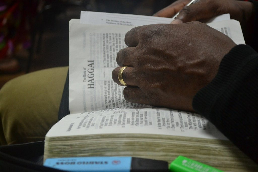 open, bible, hand